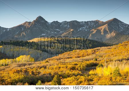 Early morning autumn color at Mt. Sneffels in the San Juan Mountains of Southwest Colorado.
