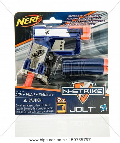 Winneconne WI - 7 October 2016: Package of a Nerf N-strike jolt blaster on an isolated background.