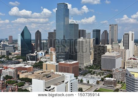 DALLAS, TX - SEP 17: Aerial view of Dallas, Texas, from the Reunion Tower Observation Deck, as seen on Sep 17, 2016. Dallas is the largest urban center of the fourth most populous metropolitan area in the United States.