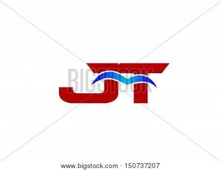 JT Logo. Vector Graphic Branding Letter Element
