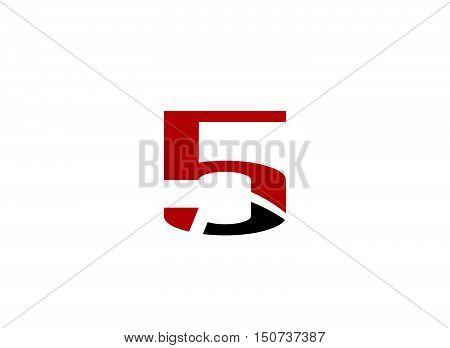 Vector sign number 5 logo design vector template