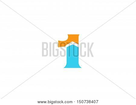 Abstract Number 1 logo Symbol  . Vector illustration of abstract icons