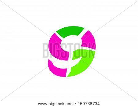Number logo design.Number nine logo.Logo 9 vector template