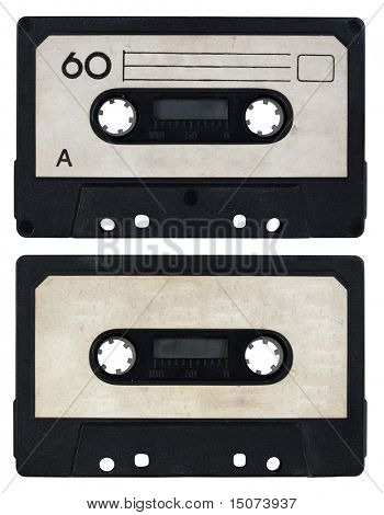audio cassette isolated on white background. side A and B