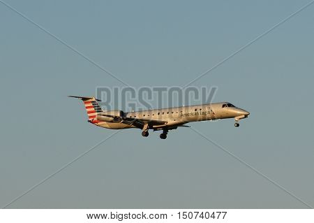 DALLAS, TX - SEP 18: American Airlines plane about to land at Dallas-Fort Worth International Airport in Texas, as seen on Sep 18, 2016. It is the world's largest airline when measured by fleet size, revenue, and scheduled passenger-kilometres flown.