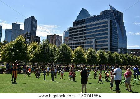 DALLAS, TX - SEP 17: Klyde Warren Park in Dallas, Texas, as seen on Sep 17, 2016. The urban park is open to the public, but is operated by the private Woodall Rodgers Park Foundation.