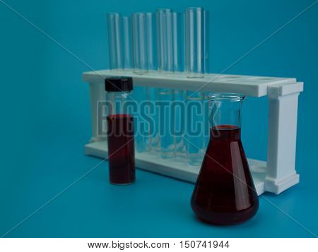 experimentation laboratory test tube , Put on a blue background.