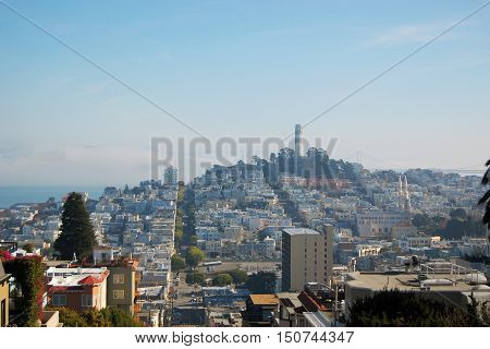 Coit Tower and City Skyline of San Francisco, California, USA