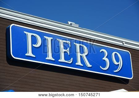 SAN FRANCISCO - MAR. 14, 2014: Pier 39 Sign at Fishermans Wharf in downtown San Francisco, California, USA.