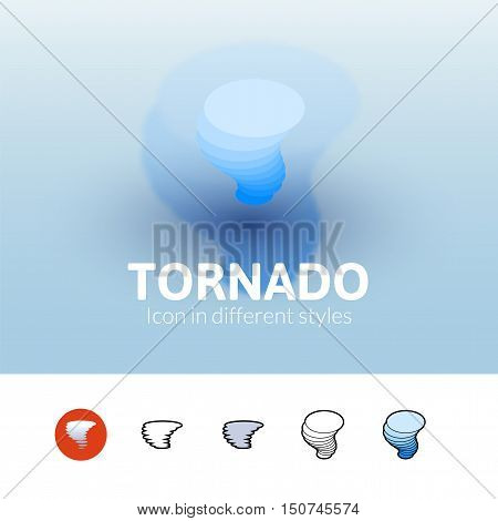 Tornado color icon, vector symbol in flat, outline and isometric style isolated on blur background