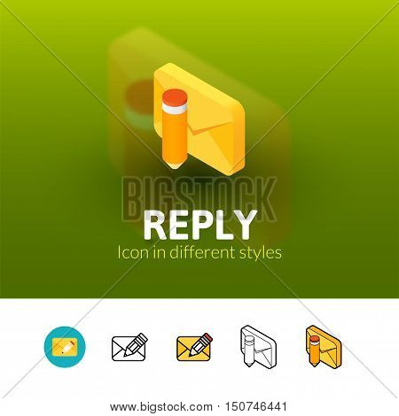 Reply color icon, vector symbol in flat, outline and isometric style isolated on blur background