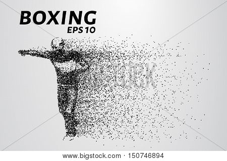 Boxer of the particles. Silhouette of a boxer consists of points.