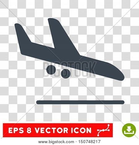 Vector Aiplane Landing EPS vector pictogram. Illustration style is flat iconic smooth blue symbol on a transparent background.