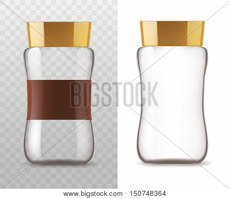 Coffee glass jar icons. Vector container package with brown lid and ribbon sticker isolated on white and transparent background for product packaging template
