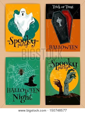 Halloween ghost, vampire coffin, witch hat, zombie hands on cemetery. Grungy Halloween invitation posters and banners in retro style. Horror design for October greeting cards