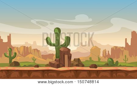 Cartoon america prairie desert landscape with cactus, hills and mountains. game seamless vector background. Interface for computer game illustration
