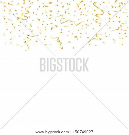 Gold confetti celebration isolated on white background. Falling golden abstract decoration. Vector illustration