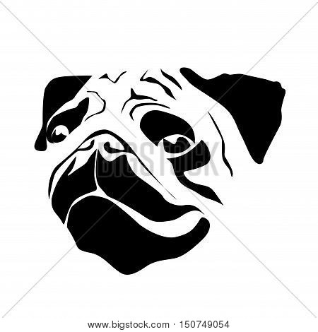 Vector sign head of dog, isolated in white