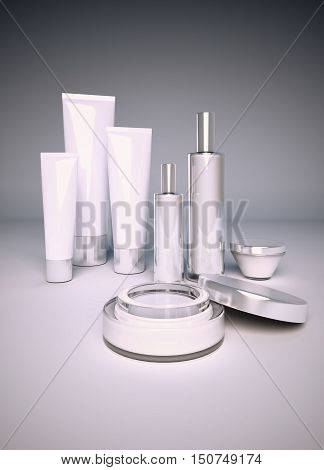 White nameless beauty set on dark background. 3D illustration