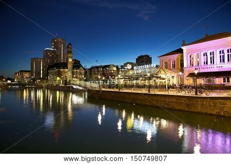 MALMO SWEDEN - AUGUST 16 2016: View of beautiful night scene and Bagers bro bridge from street Norra Vallgatan in Malmo Sweden on August 16 2016.