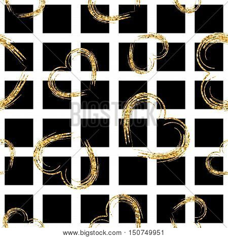 Golden grunge hearts seamless pattern. Gold glitter and black template. Abstract texture. Retro Valentine day design. Vector Illustration