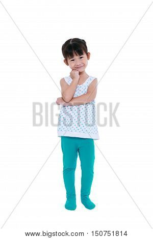 Full Body Of Asian Girl Thinking And Smiling. Isolated On White.
