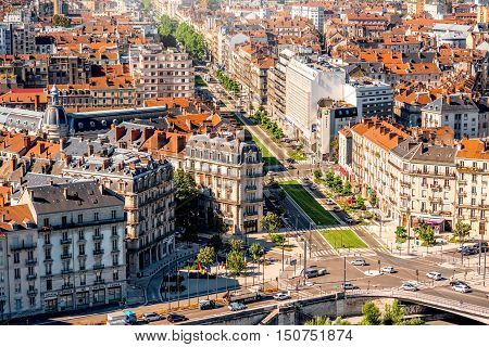 Grenoble, France - June 21, 2016: Morning cityscape top view on the main Jean Jaures avenue in Grenoble city on the south-east of France