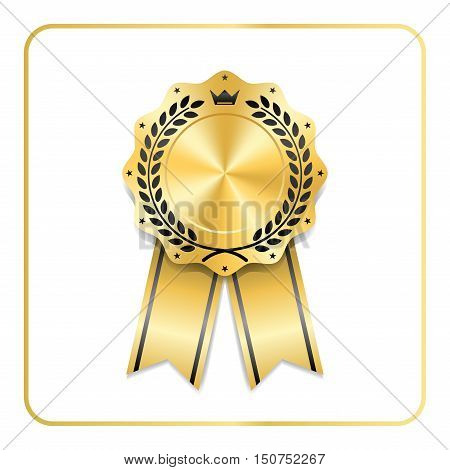 Award ribbon gold icon. Blank medal with laurel wreath isolated white background. Stamp rosette design trophy. Golden symbol of winner celebration sport competition champion. Vector illustration