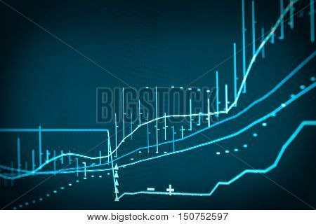 Graph Of Stock Market Data And Financial With Stock Analysis Indicator The View From Led Display Con