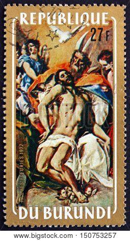 BURUNDI - CIRCA 1972: a stamp printed in Burundi shows Trinity Painting by El Greco Christmas circa 1972