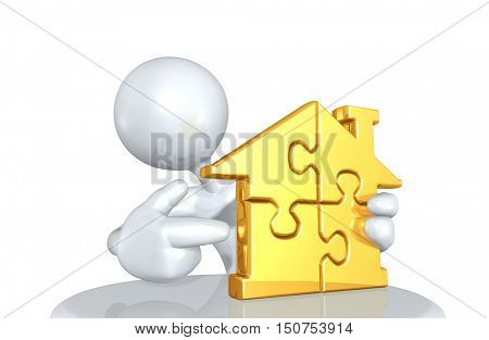 Character With Home Puzzle 3D Illustration