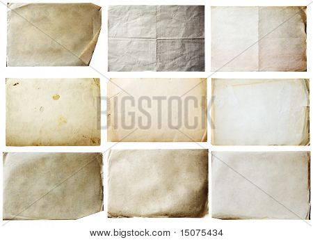 old papers set isolated on white background with clipping path