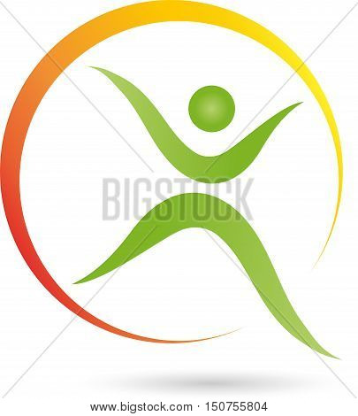 Human and circle, fitness and health, naturopathic logo