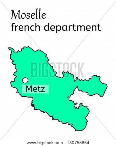 Moselle french department map on white in vector