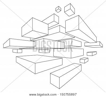Rectangular shapes in linear perspective with two point of vanishing isolated on white