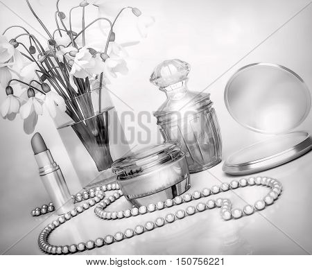 Snowdrops jar of moisturizing face cream lipstick string of pearls and perfume bottle.3D illustration