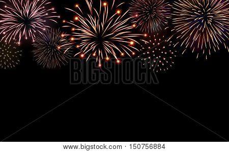 Firework bursting sparkle background set. Colorful night fire beautiful explosion for celebration holidays  Vector illustration