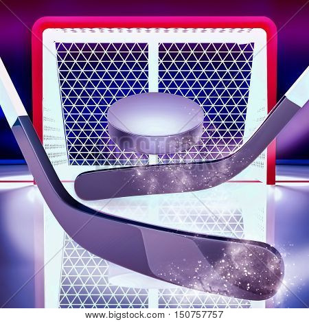 Goal! Hockey sticks and puck against the background of hockey gate. The puck flies to gate. 3D illustration