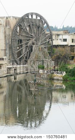 Irrigation Water-wheel norias in Hama on the Orontes river Syria