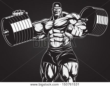 Vector illustration strict coach bodybuilding and fitness