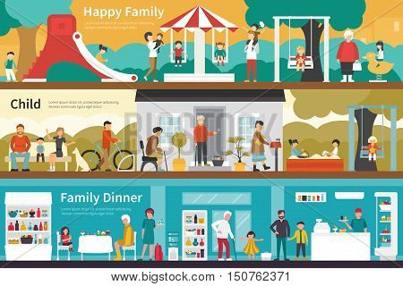 Happy Family Child Family Dinner flat interior outdoor concept web. Career Chart Fun