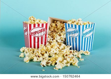 Popcorn Bucket Against A Blue Background