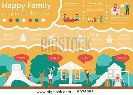 Happy Family infographic flat vector illustration. Editable Presentation Concept