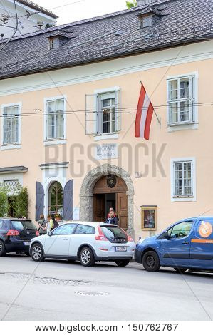 SALZBURG AUSTRIA - May 05.2012: Museum of composer Mozart - the house where the great composer was born and lived until 17 years
