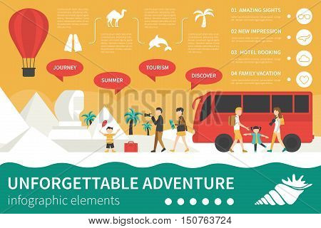 Unforgettable Adventure infographic flat vector illustration. Editable Presentation Concept