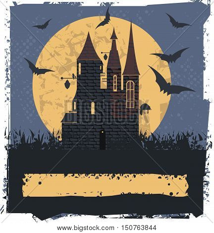 Happy Halloween card with Witch Castle for your designs. Vector image.