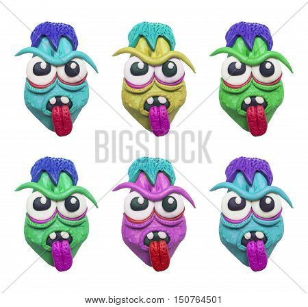 A set of colorful clay zombie heads.