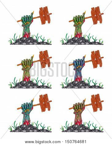 A collection of a colorful clay zombie hands with banners for your text.