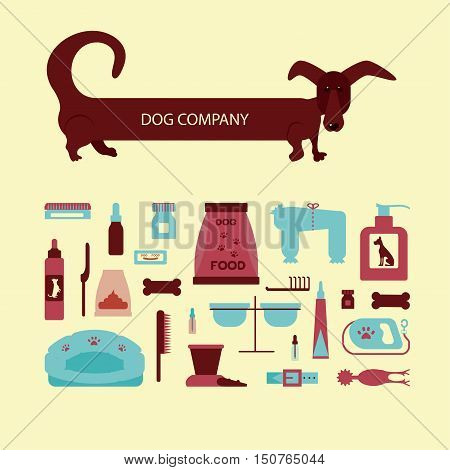 Set of sign dog accessories. Vector pet supplies. Animal equipment care grooming tools and food, dachshund.