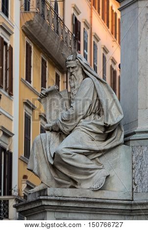 ROME ITALY -JUNE 15 2015: Rome - Biblical Statues at Base of Colonna dell'Imacolata